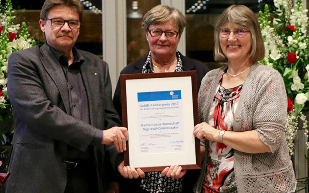 CH: OeME-Förderpreis für tatkräftige Hilfe aus Sigriswil