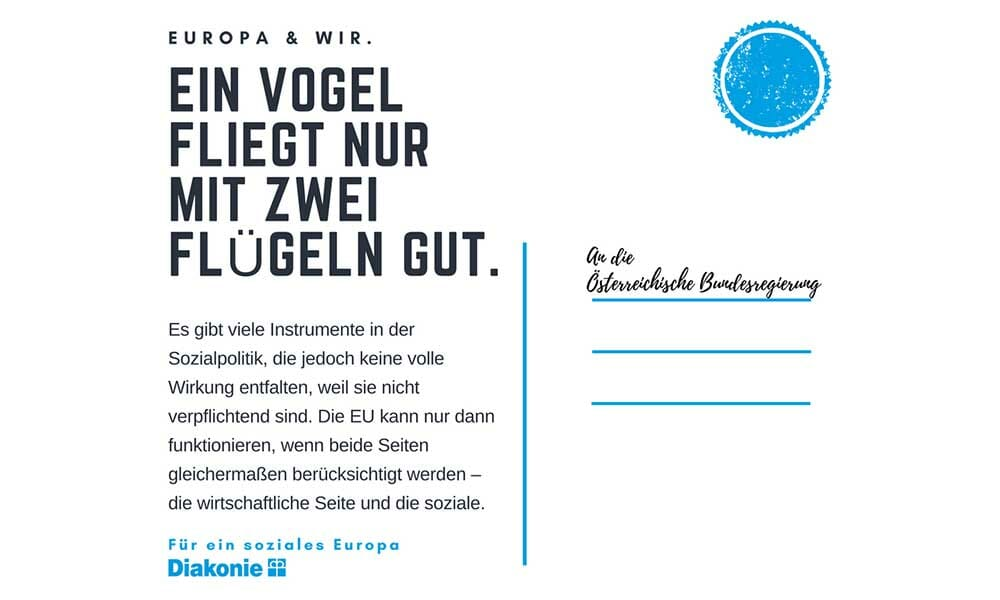 AT: Diakonie Österreich startet Postkartenaktion für ein soziales Europa